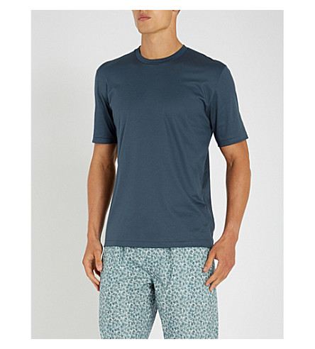 ZIMMERLI 圆领平纹针织棉 T 恤 (石板 + 蓝色)