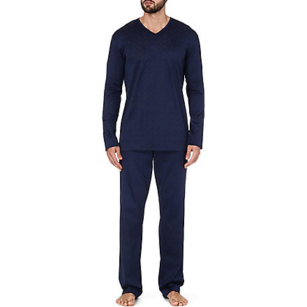 ZIMMERLI V-neck patterned pyjamas (Navy