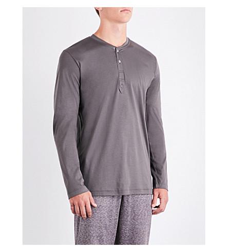 ZIMMERLI Marl cotton-jersey henley pyjama top (Mink