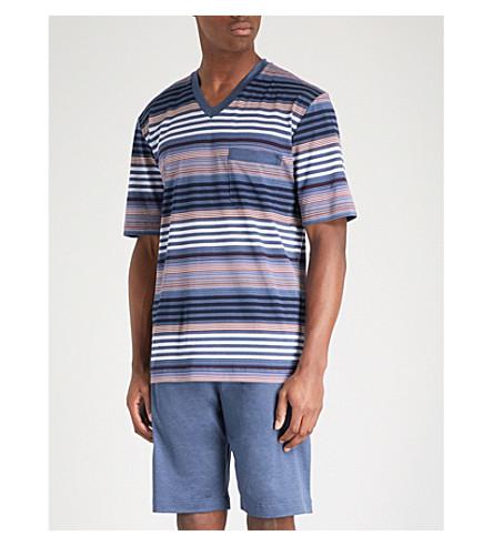 ZIMMERLI Striped cotton-jersey pyjama set (Navy+multi