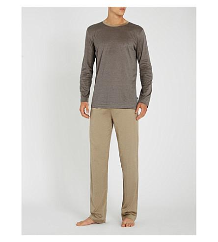 ZIMMERLI 条纹平纹针织棉睡衣套装 (蓝米色