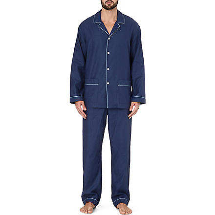 ZIMMERLI Plain trim pyjama set (Navy