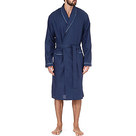 ZIMMERLI Plain trim jacquard robe (Navy