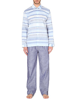ZIMMERLI Cotton long sleeve striped pjyama set