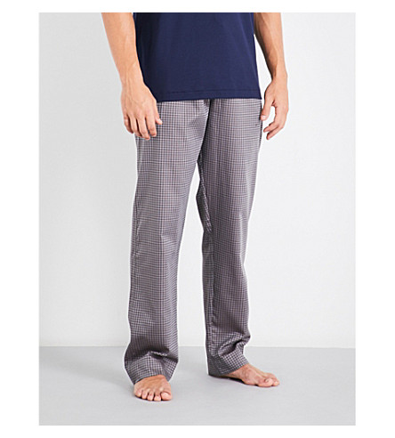 ZIMMERLI Puppytooth relaxed-fit mid-rise cotton pyjama trousers (Nvy+brwn