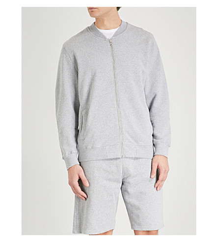 SUNSPEL Loopback cotton-jersey bomber jacket (Silver
