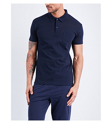 SUNSPEL Riviera cotton-piqué polo shirt (Navy
