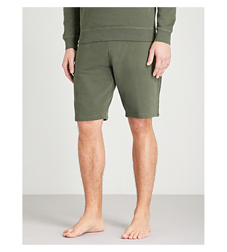SUNSPEL Loopback relaxed-fit cotton-jersey shorts (Olive