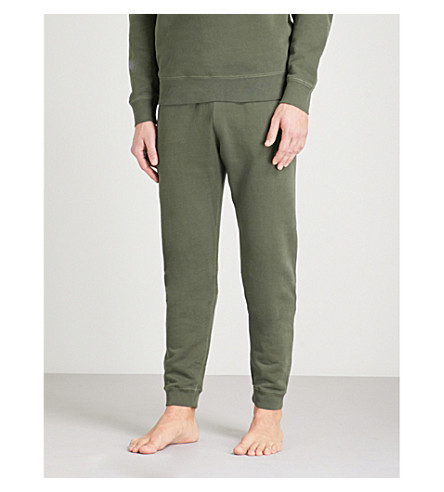 SUNSPEL Tapered loopback cotton-jersey jogging bottoms (Olive