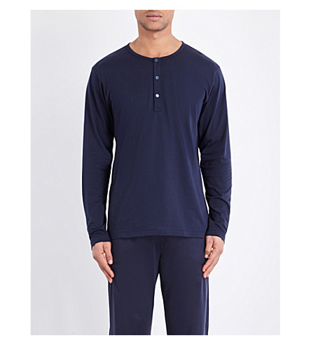 SUNSPEL Henley pima-cotton top (Navy