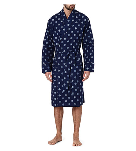 PAUL SMITH Striped polka-dot cotton robe (Navy