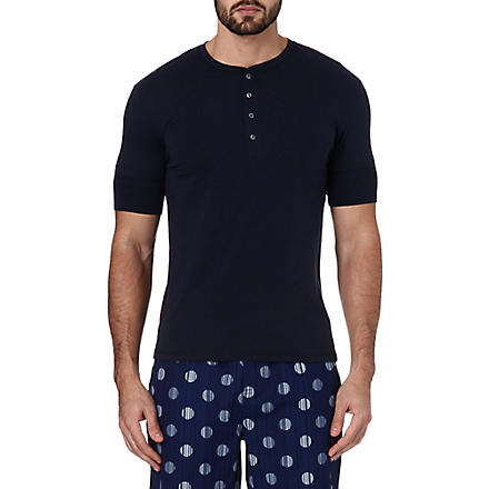 PAUL SMITH Henley cotton t-shirt (Navy
