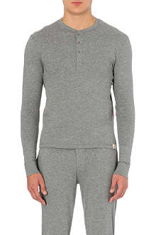 PAUL SMITH Contrast stitch cotton-jersey henley top