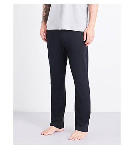 TOMMY HILFIGER Logo-embroidered cotton-jersey pyjama trousers (Black