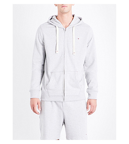 TOMMY HILFIGER Logo-embroidered cotton-blend hoody (Grey