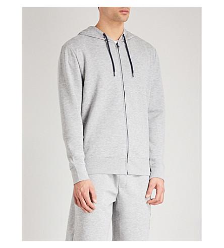 TOMMY HILFIGER Logo sleeve jersey lounge hoody (Lt+grey