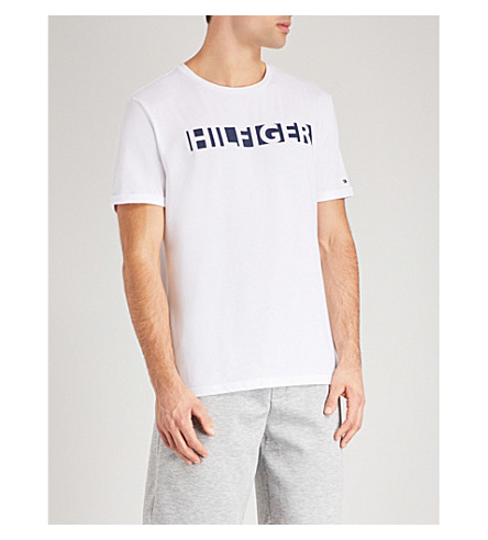 TOMMY HILFIGER Logo-print jersey T-shirt (Wht