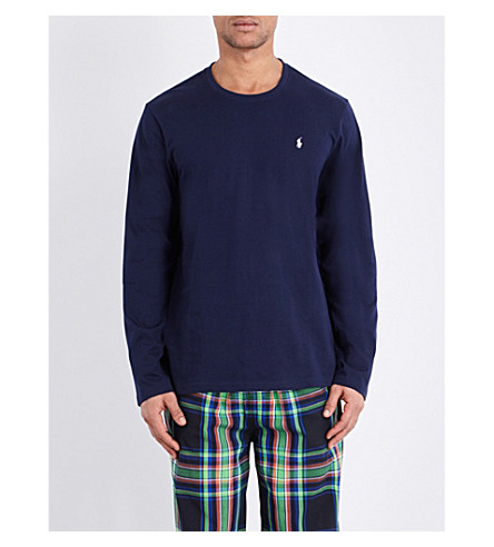 POLO RALPH LAUREN Crewneck cotton-jersey top (Navy