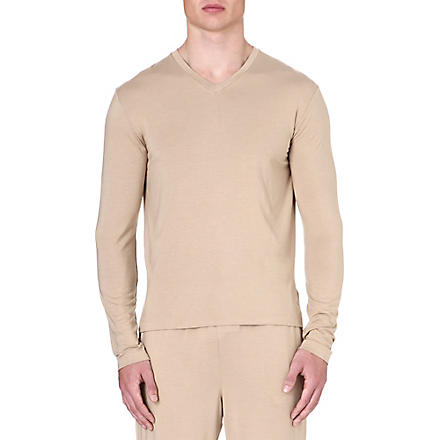 RALPH LAUREN V-neck stretch-modal t-shirt (Tan