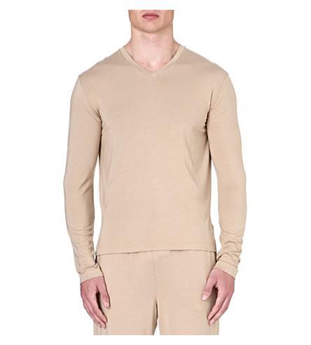RALPH LAUREN V-neck stretch-modal t-shirt (Tan