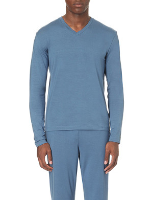 RALPH LAUREN Long-sleeved stretch-jersey pyjama top