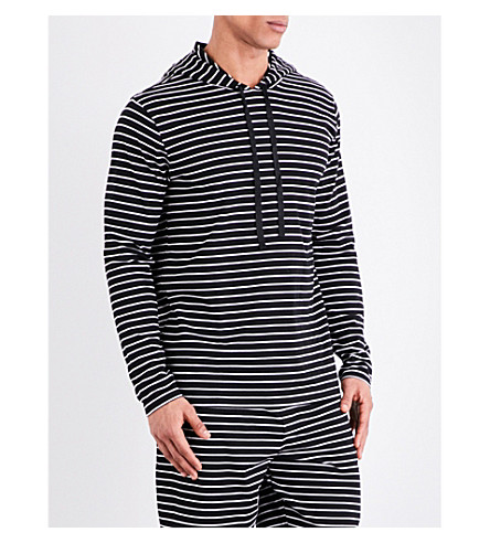 POLO RALPH LAUREN Striped cotton-jersey hooded top (Mono