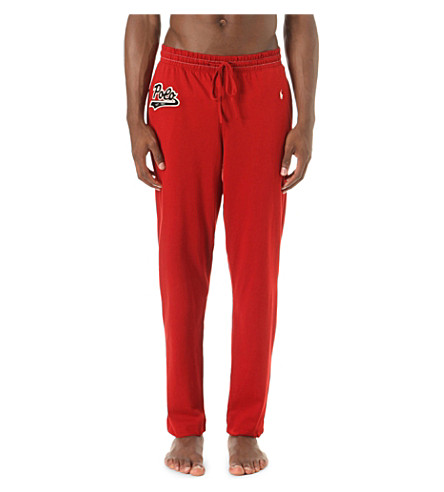 POLO RALPH LAUREN Logo-embroidered cotton-jersey pyjama bottoms (Franklin+red