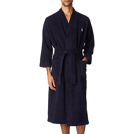 RALPH LAUREN Embroidered Pony dressing gown (Navy