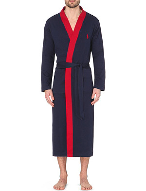 RALPH LAUREN Contrast cotton-jersey dressing gown
