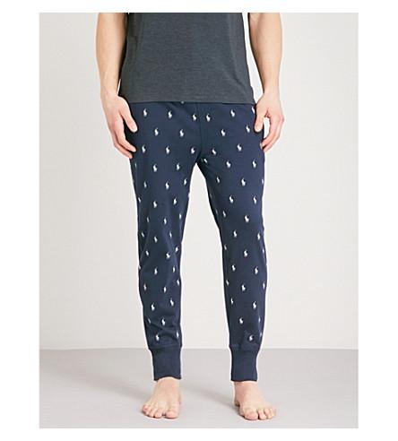 POLO RALPH LAUREN Logo-print cotton-jersey pyjama trousers (Navy+white