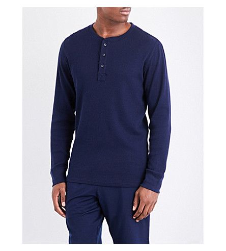 POLO RALPH LAUREN Waffle-texture cotton-blend pyjama top (Navy