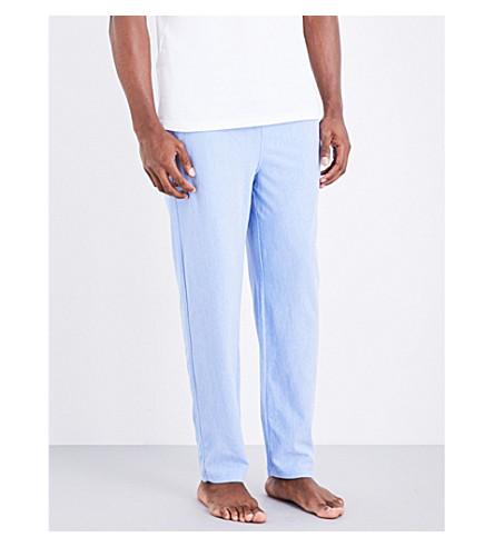 POLO RALPH LAUREN Slim-fit Oxford-cotton pyjama trousers (Lt+blue