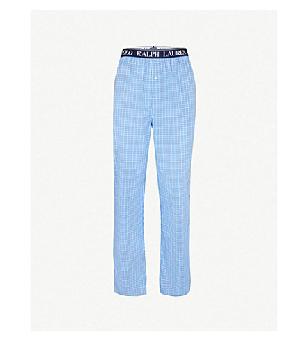 POLO RALPH LAUREN Checked cotton pyjama bottoms (Blue+white