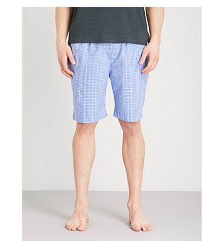 POLO RALPH LAUREN Checked cotton pyjama shorts (Light+blue