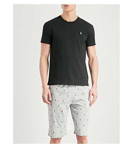 POLO RALPH LAUREN Printed relaxed-fit cotton-jersey shorts (Grey+white