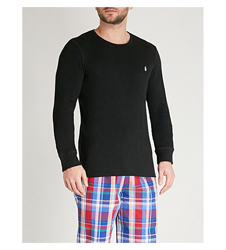 POLO RALPH LAUREN Waffle-knit stretch-cotton sweatshirt (Black