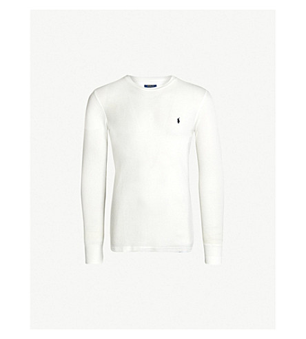 POLO RALPH LAUREN Logo-embroidered cotton-blend top (White