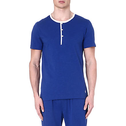 RALPH LAUREN Retro Henley pyjama top (Blue