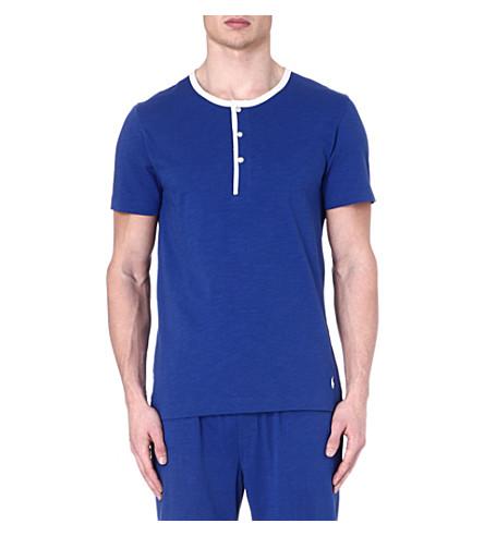 RALPH LAUREN Retro Henley pyjama top (Blue