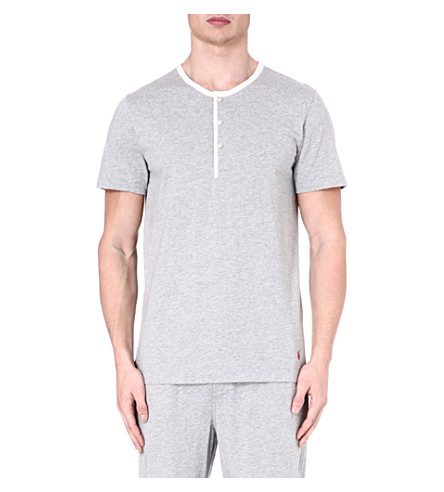 RALPH LAUREN Retro Henley pyjama top (Grey