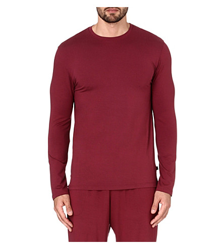 DEREK ROSE Basel long-sleeved t-shirt (Burgundy