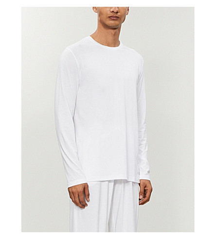 DEREK ROSE Basel long-sleeved t-shirt (White