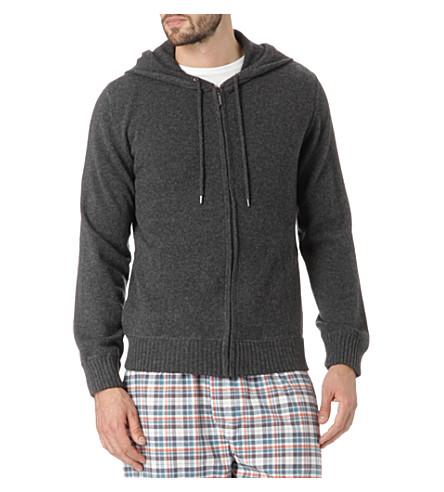 DEREK ROSE Finley cashmere hoody (Charcoal