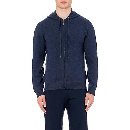 DEREK ROSE Finley cashmere hoody (Navy