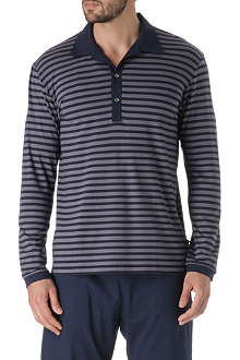 NATURALLY Dylan striped long-sleeved polo shirt