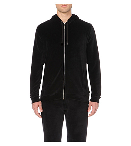 DEREK ROSE Nico velour hoody (Black