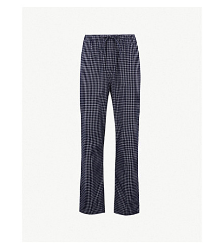 DEREK ROSE Braemar checked lounge trousers (Navy