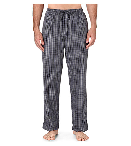 DEREK ROSE Ezra checked lounge trousers (Charcoal