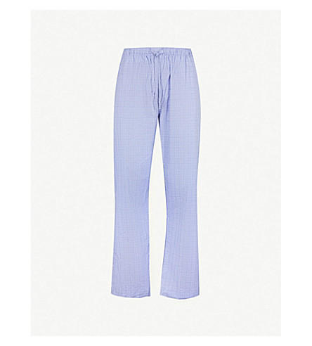 DEREK ROSE Felsted light checked lounge trousers (Blue
