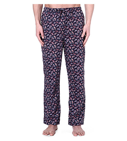 DEREK ROSE Nelson paisley cotton trousers (Navy